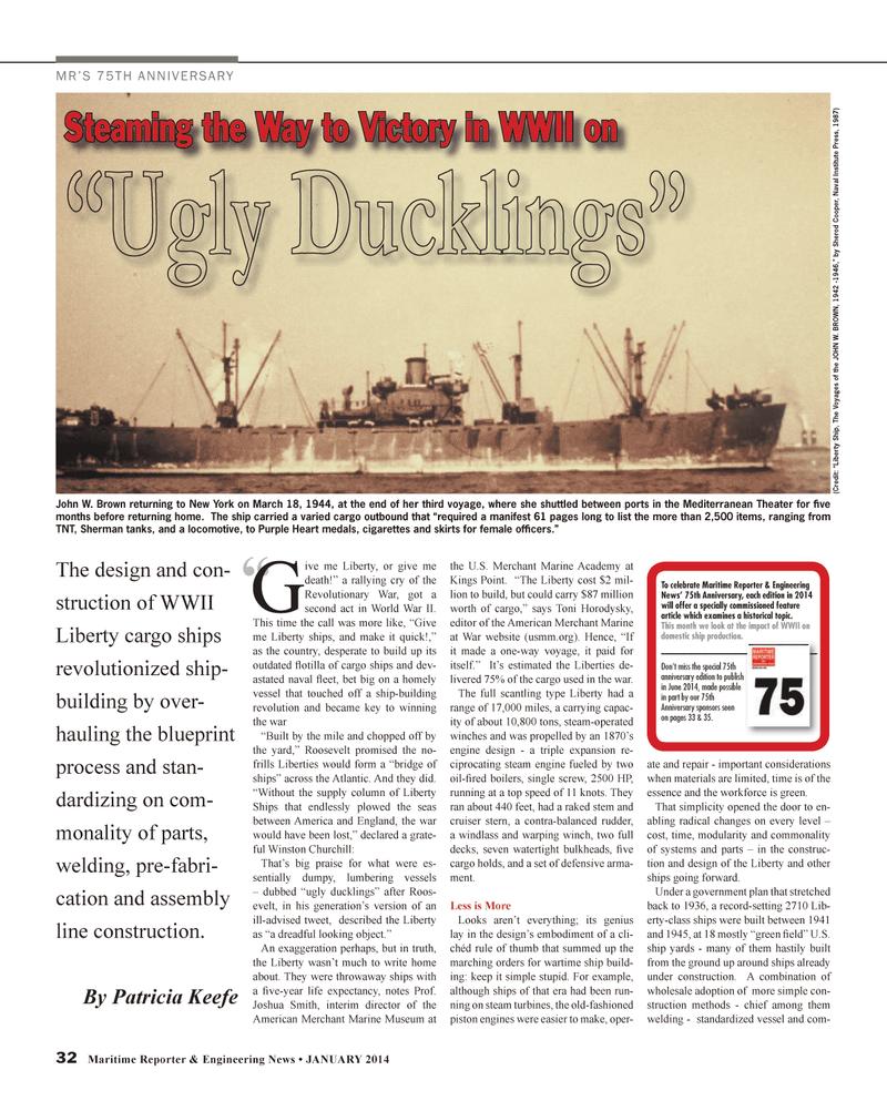 Maritime Reporter Magazine, page 32,  Jan 2014 Toni Horodysky