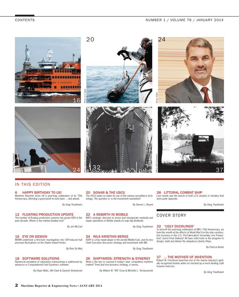 Maritime Reporter Magazine, page 2,  Jan 2014 Middle East