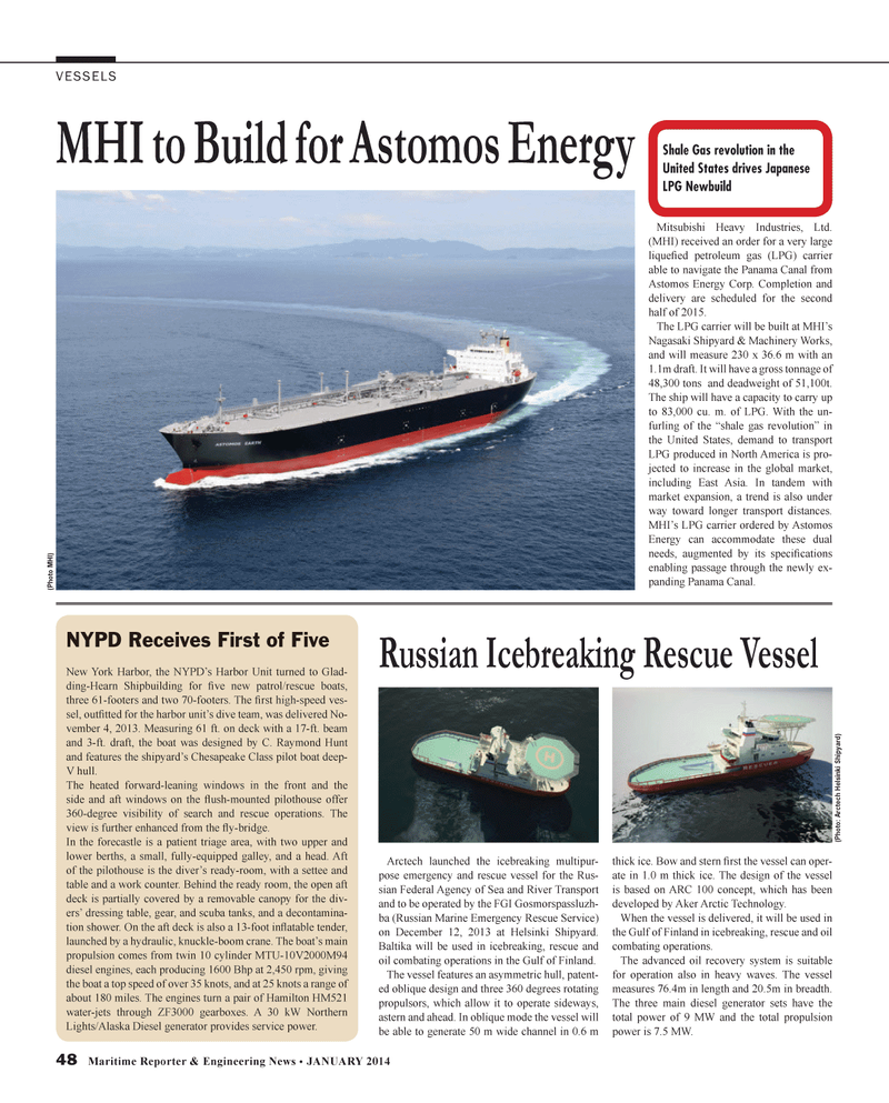 Maritime Reporter Magazine, page 48,  Jan 2014 Harbor Unit