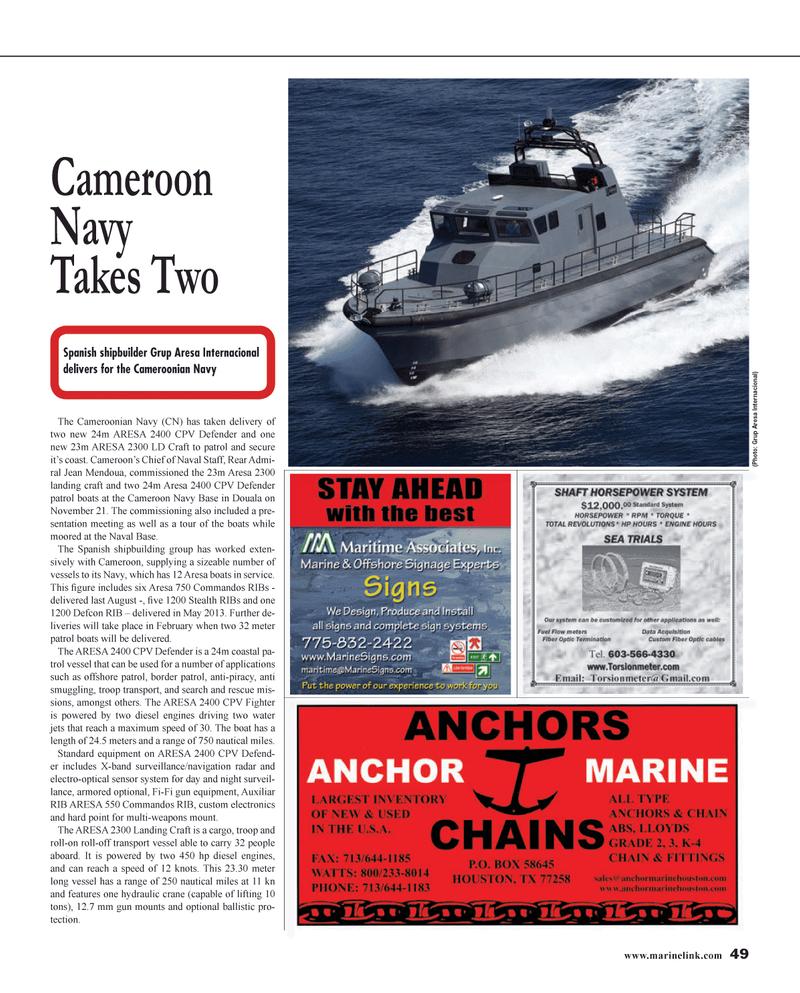Maritime Reporter Magazine, page 49,  Jan 2014 gun equipment