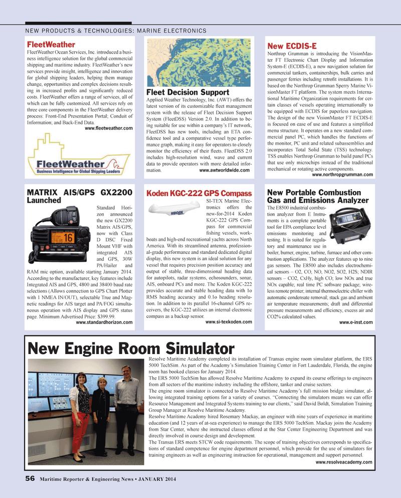 Maritime Reporter Magazine, page 56,  Jan 2014 Florida