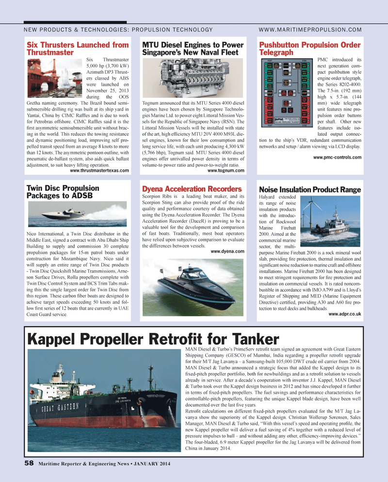 Maritime Reporter Magazine, page 58,  Jan 2014 Middle East