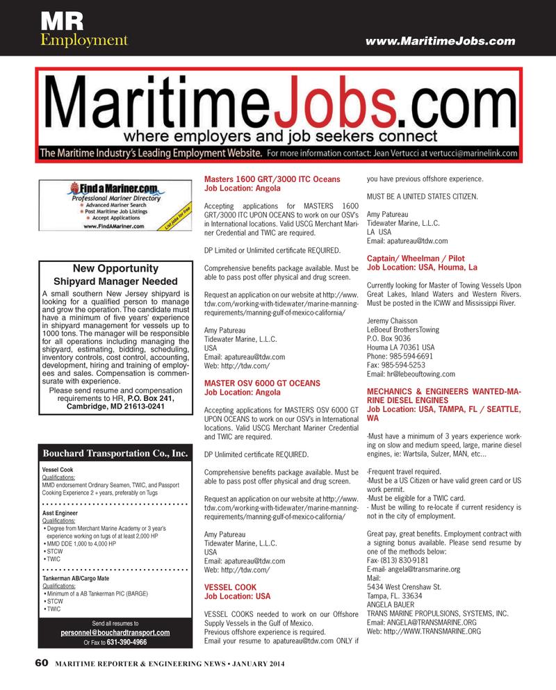 Maritime Reporter Magazine, page 60,  Jan 2014 Washington