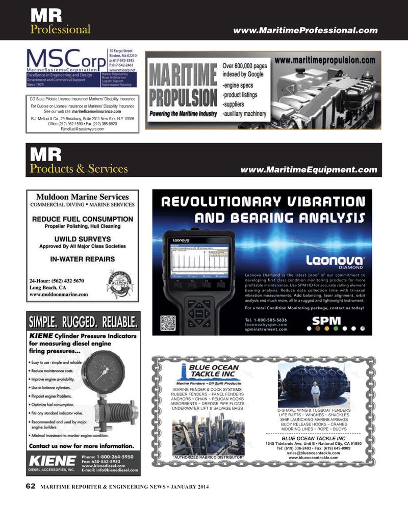 Maritime Reporter Magazine, page 62,  Jan 2014 P R.J. Mellusi & Co.