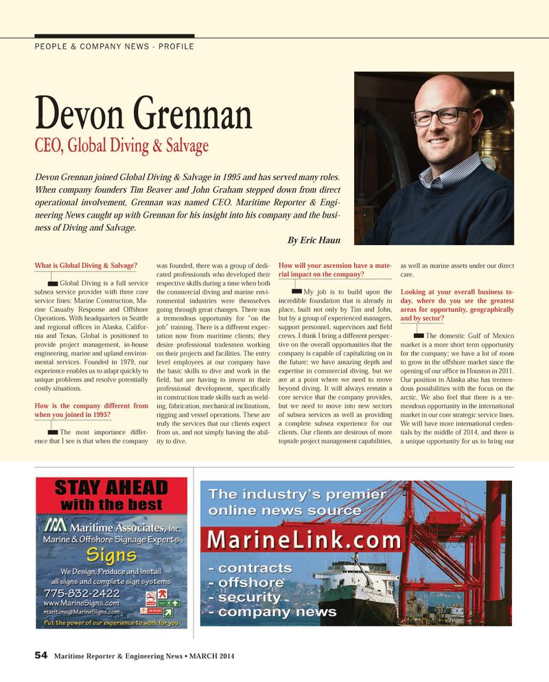 Maritime Reporter Magazine, page 54,  Mar 2014 Tim
