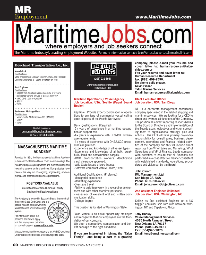 Maritime Reporter Magazine, page 60,  Mar 2014 Kevin Pinson
