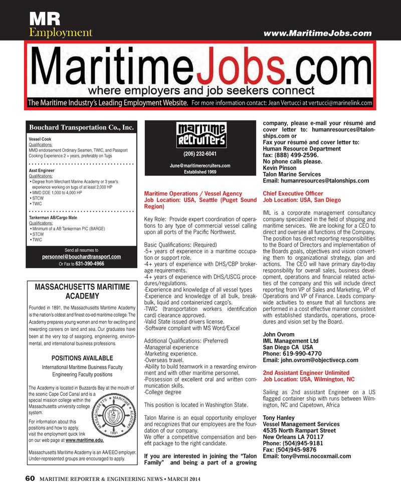 Northwest, Maritime Reporter Magazine March 2014 #60