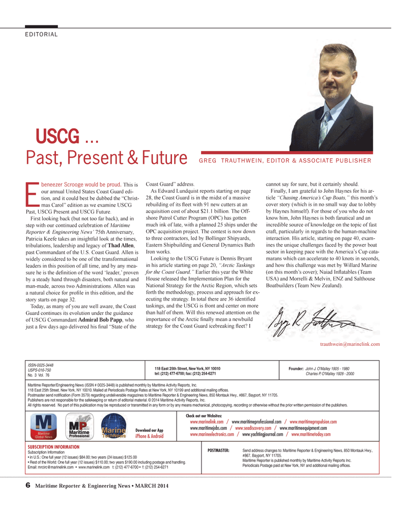 Maritime Reporter Magazine, page 6,  Mar 2014 Edward Lundquist