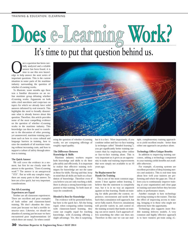 Maritime Reporter Magazine, page 30,  May 2014 maritime