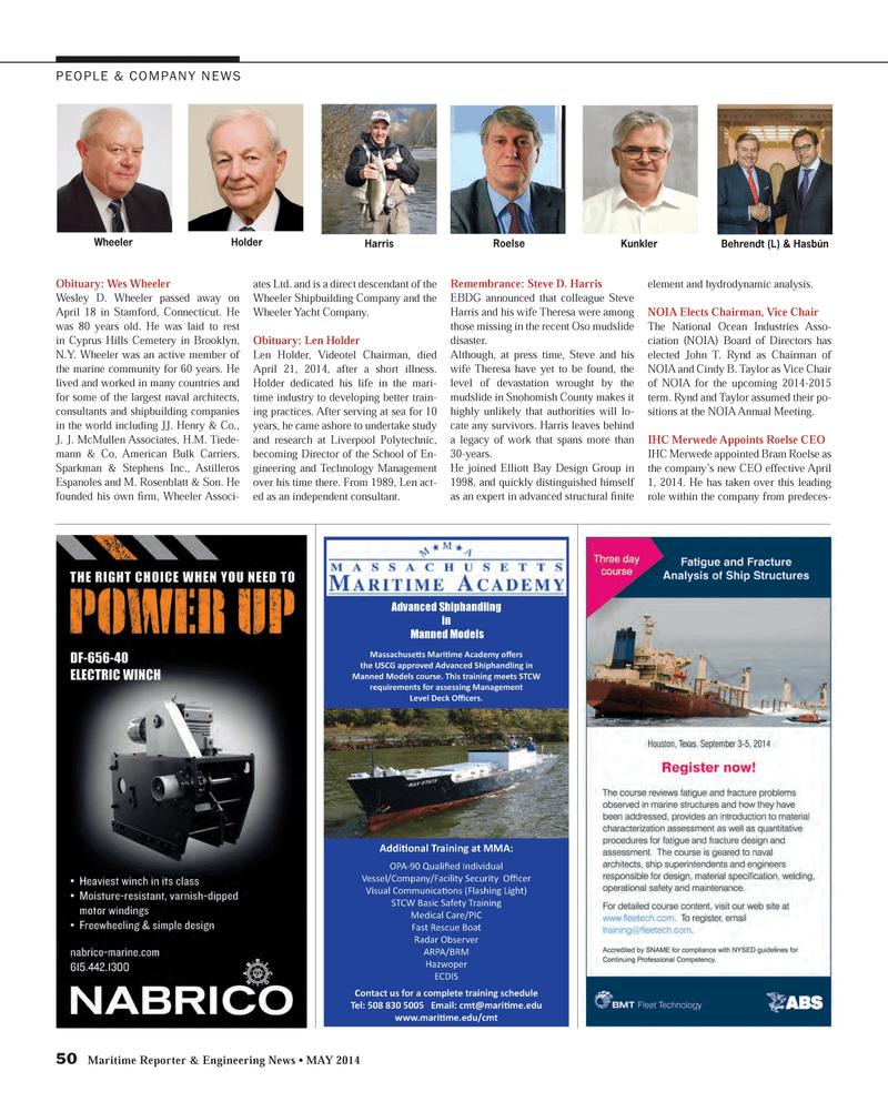 Maritime Reporter Magazine, page 50,  May 2014 School of En