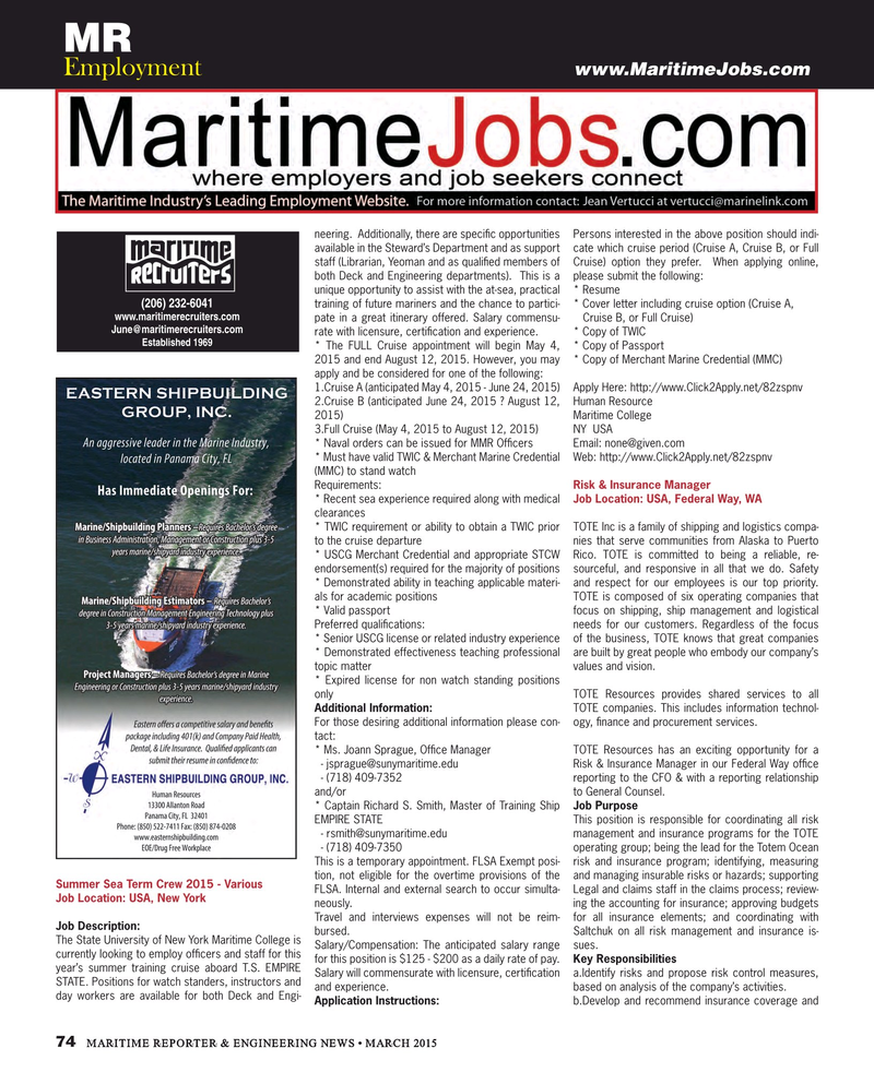 Maritime Reporter Magazine, page 74,  Mar 2015