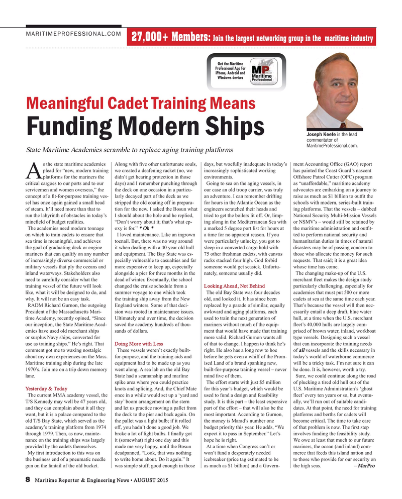Maritime Reporter Magazine, page 8,  Aug 2015