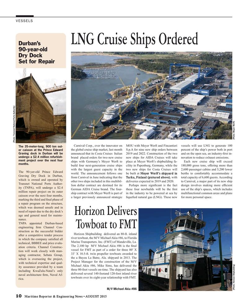 Maritime Reporter Magazine, page 10,  Aug 2015