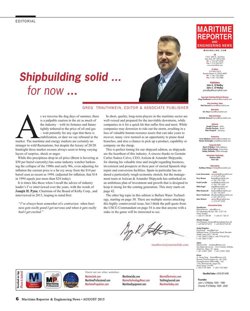 Maritime Reporter Magazine, page 6,  Aug 2015