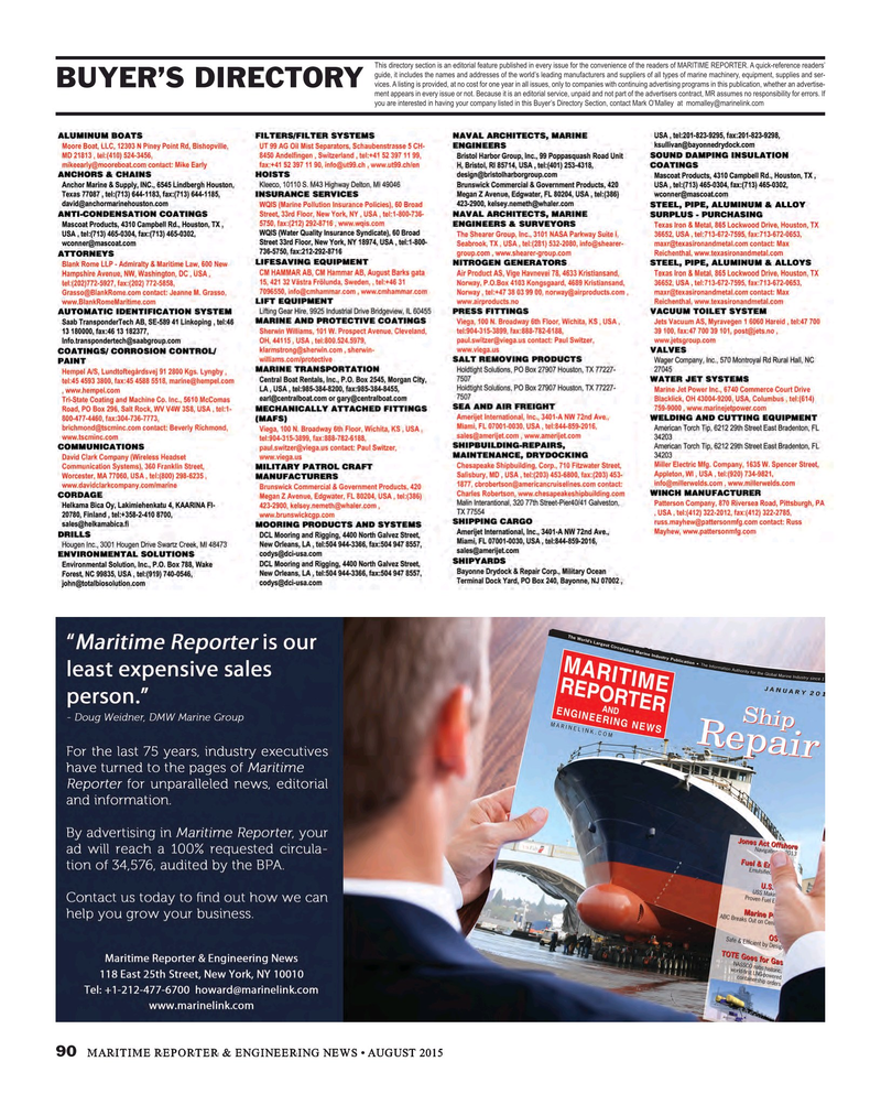 Maritime Reporter Magazine, page 90,  Aug 2015