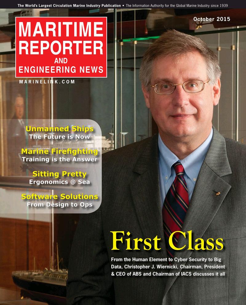 Maritime Reporter Magazine Cover Oct 2015 - Marine Design Annual
