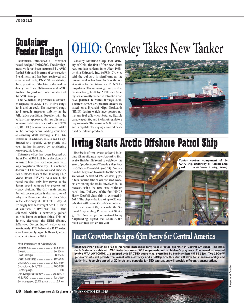 Maritime Reporter Magazine, page 10,  Oct 2015