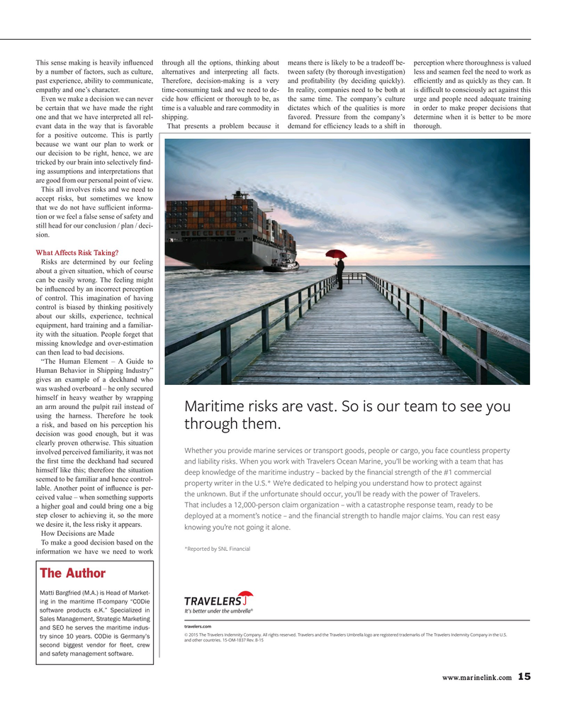 Maritime Reporter Magazine, page 15,  Oct 2015