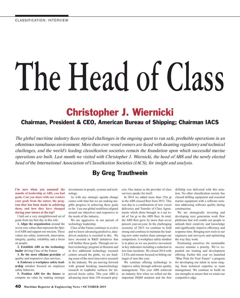 Maritime Reporter Magazine, page 40,  Oct 2015