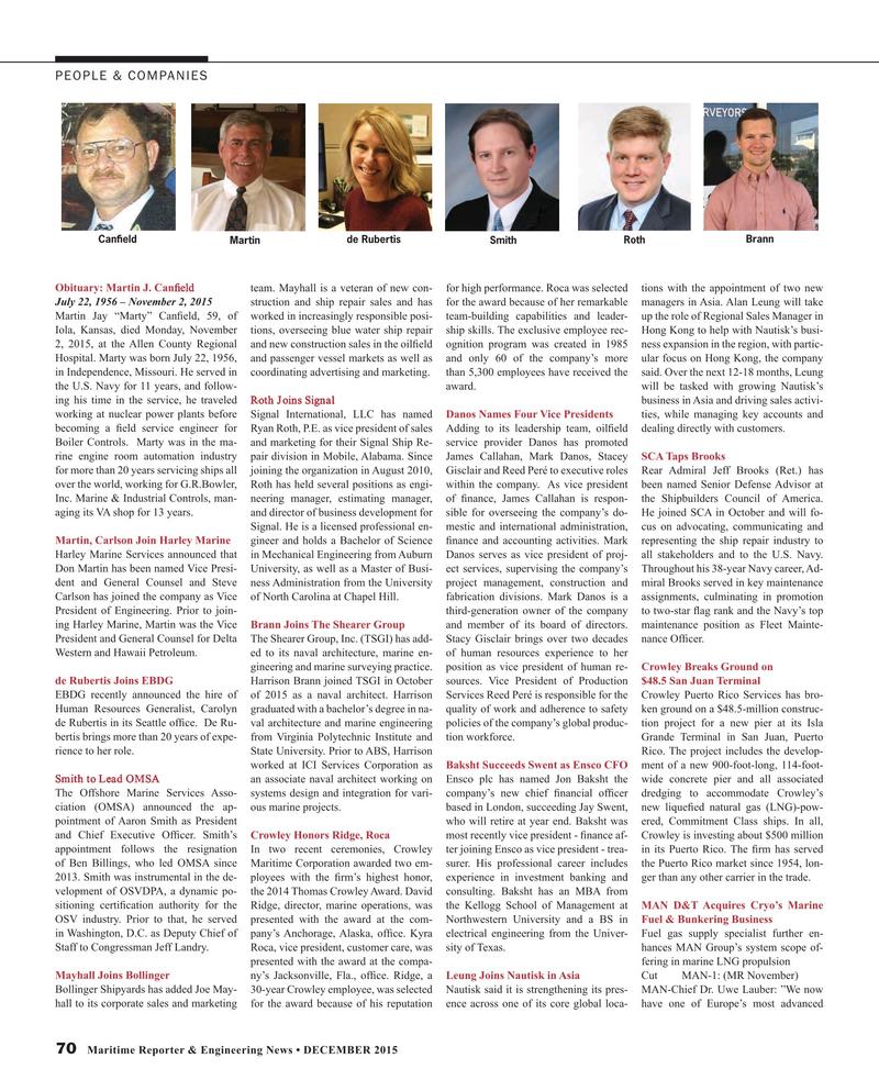 Maritime Reporter Magazine, page 70,  Dec 2015
