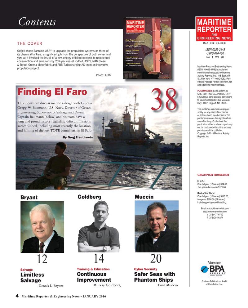 Maritime Reporter Magazine, page 4,  Jan 2016