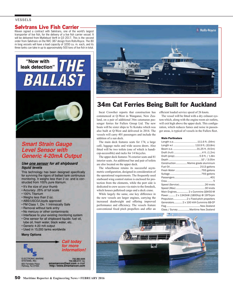 Maritime Reporter Magazine February 2016, 50 page