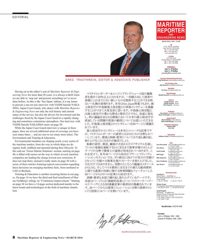 Maritime Reporter Magazine, page 8,  Mar 2016