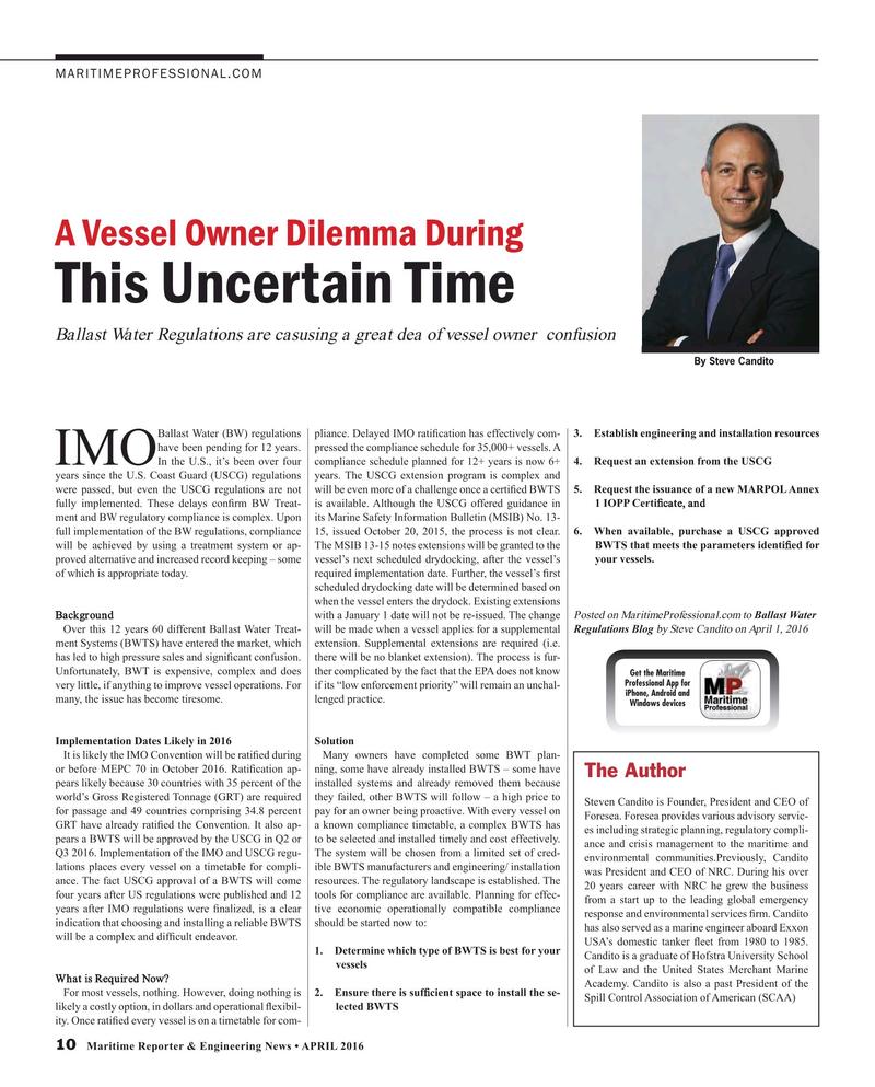 Maritime Reporter Magazine, page 10,  Apr 2016
