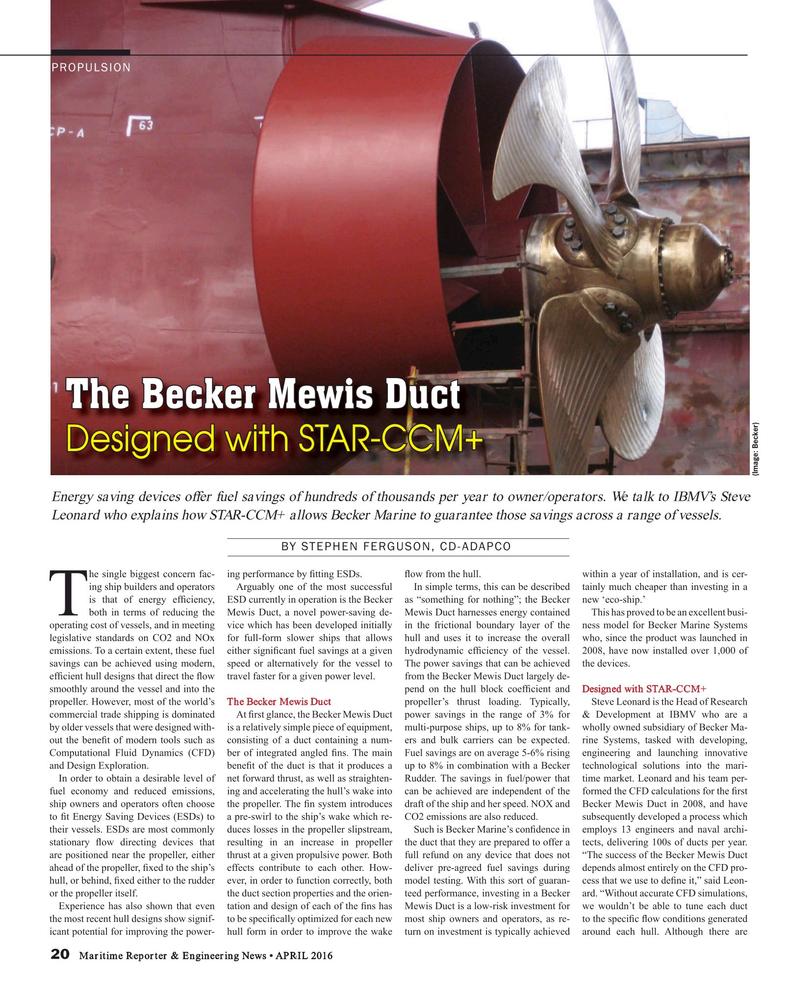 Maritime Reporter Magazine, page 20,  Apr 2016