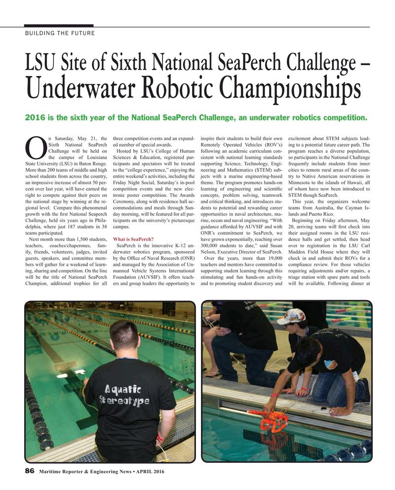 Maritime Reporter Magazine, page 86,  Apr 2016