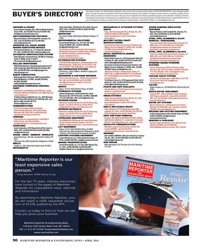 Maritime Reporter Magazine, page 90,  Apr 2016