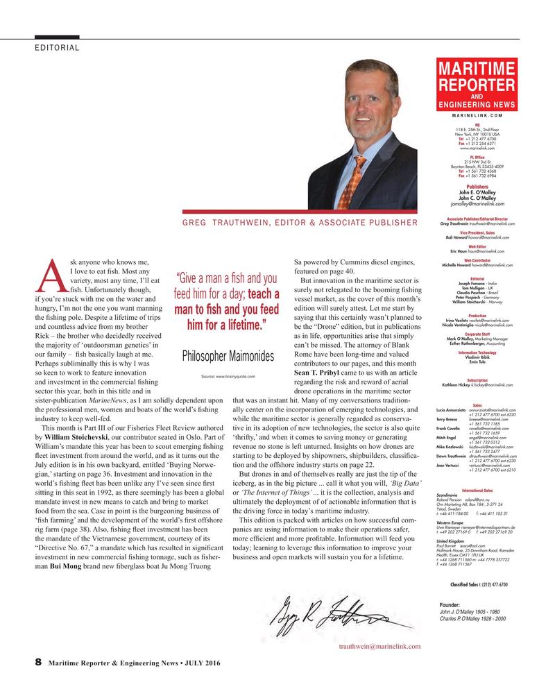 Maritime Reporter Magazine, page 8,  Jul 2016