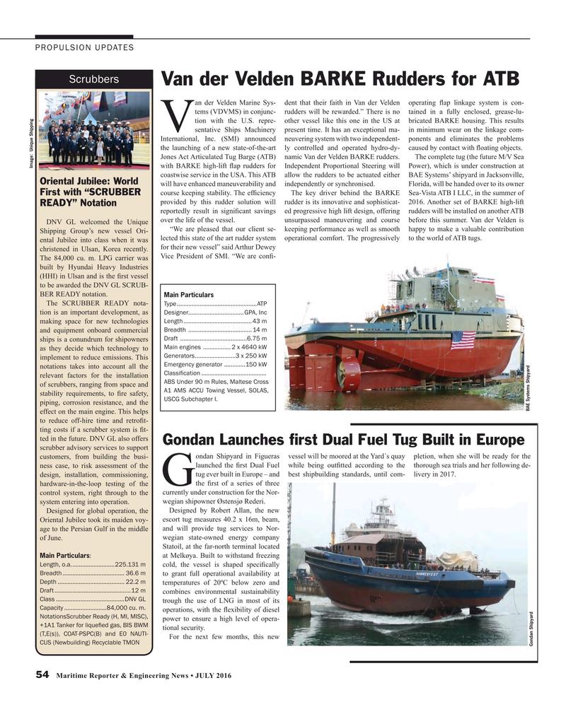 Maritime Reporter Magazine, page 54,  Jul 2016