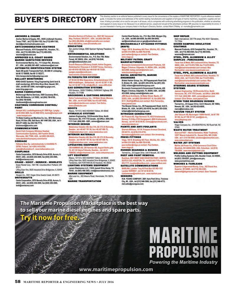 Maritime Reporter Magazine, page 58,  Jul 2016