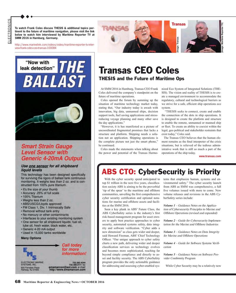 Maritime Reporter Magazine, page 68,  Oct 2016