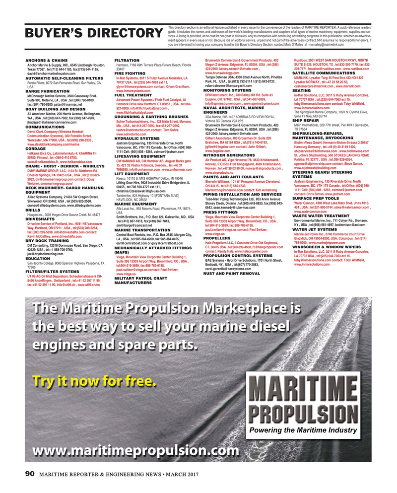 Maritime Reporter Magazine, page 90,  Mar 2017