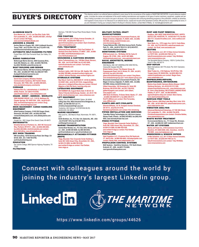 Maritime Reporter Magazine, page 90,  May 2017
