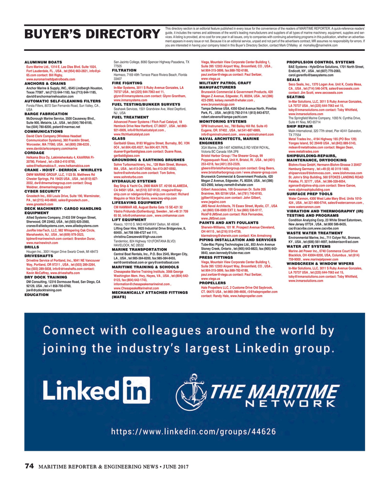 Maritime Reporter Magazine, page 74,  Jun 2017