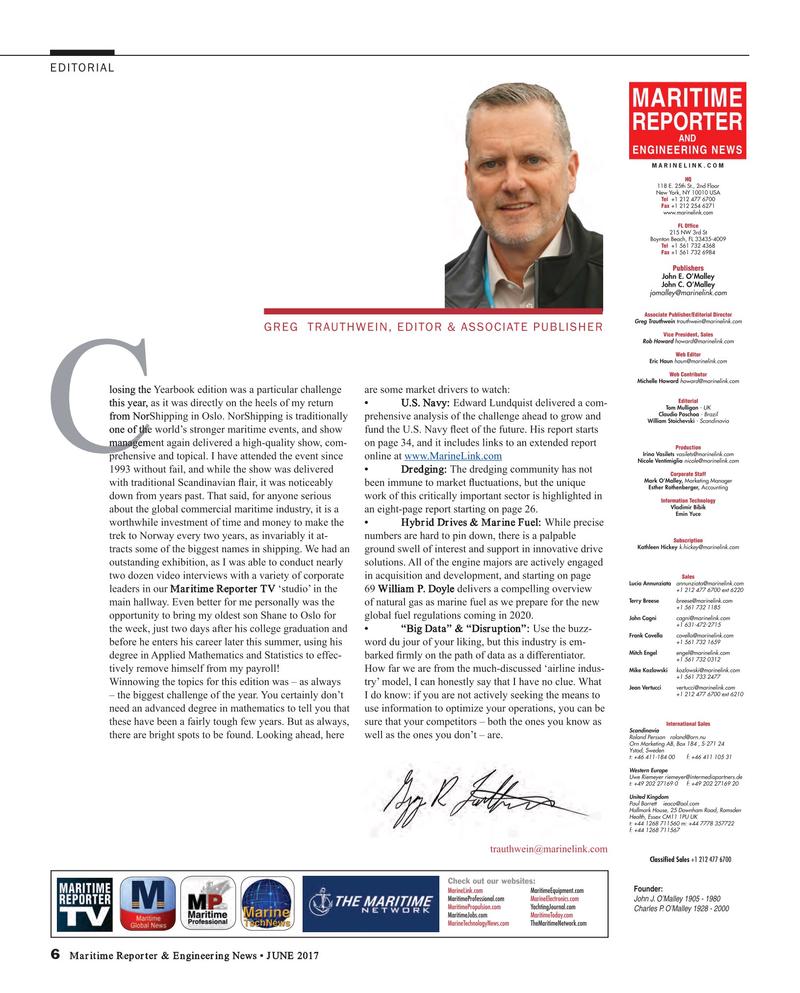 Maritime Reporter Magazine, page 6,  Jun 2017