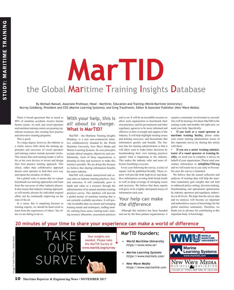 Maritime Reporter Magazine, page 10,  Nov 2017