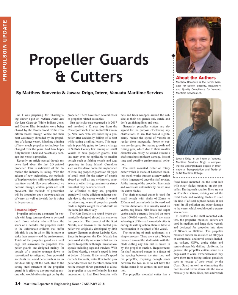 Maritime Reporter Magazine, page 14,  Jan 2018