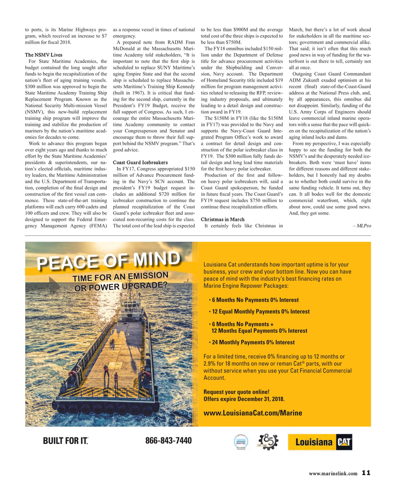 Maritime Reporter Magazine, page 11,  Apr 2018