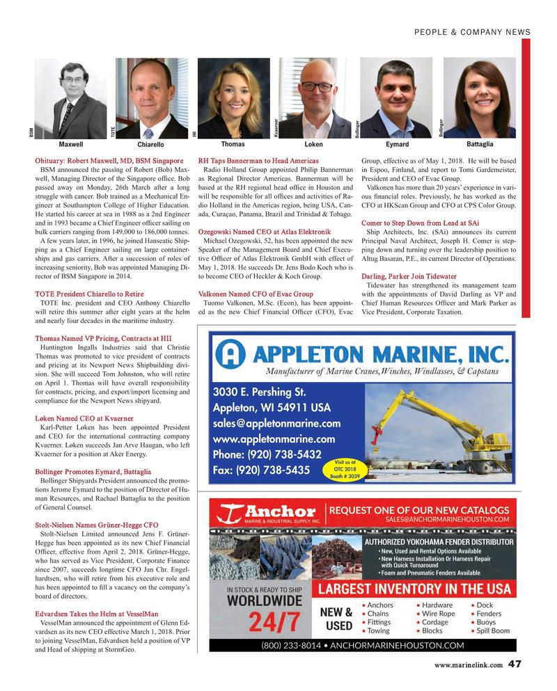 Maritime Reporter Magazine, page 47,  Apr 2018