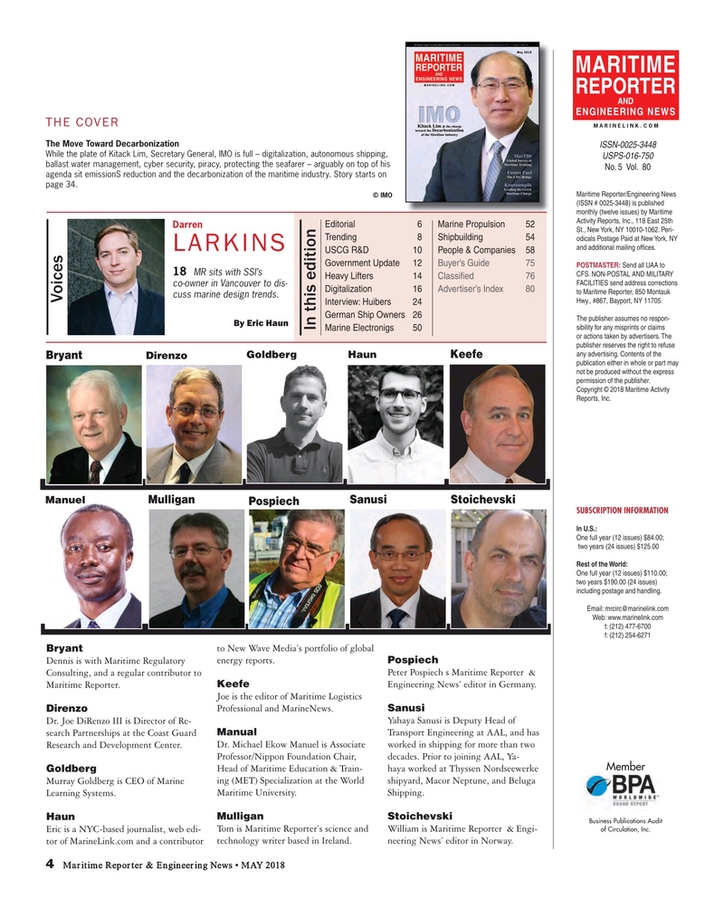 Maritime Reporter Magazine, page 4,  May 2018
