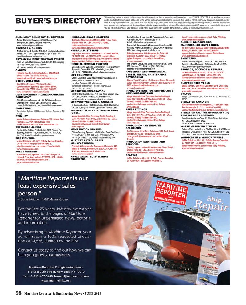 Maritime Reporter Magazine, page 58,  Jun 2018