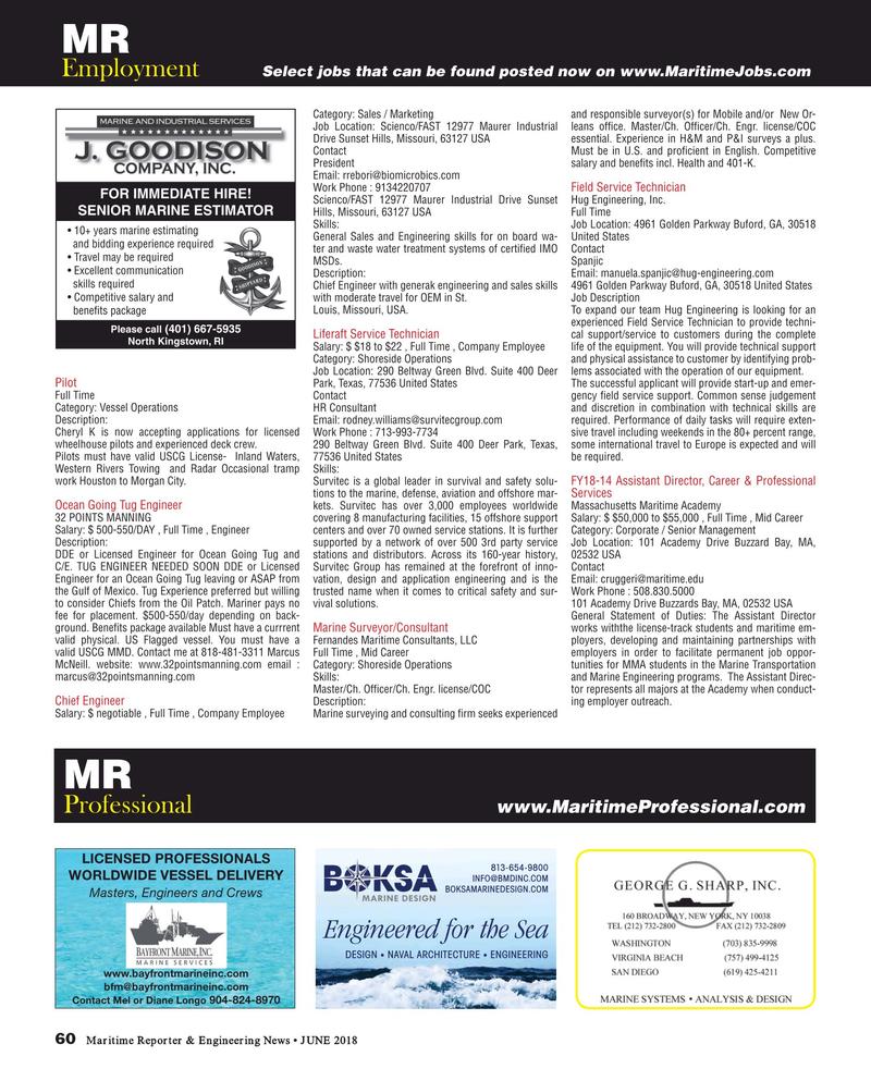 Maritime Reporter Magazine, page 60,  Jun 2018