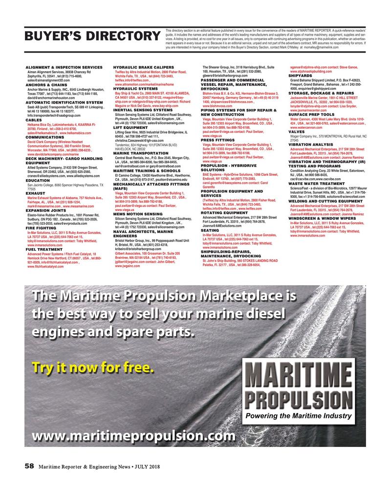 Maritime Reporter Magazine, page 58,  Jul 2018