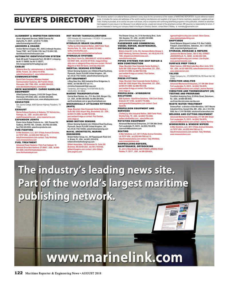 Maritime Reporter Magazine, page 122,  Aug 2018