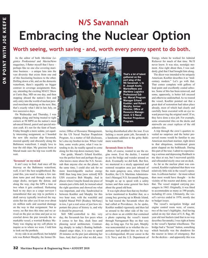 Maritime Reporter Magazine, page 32,  Aug 2018