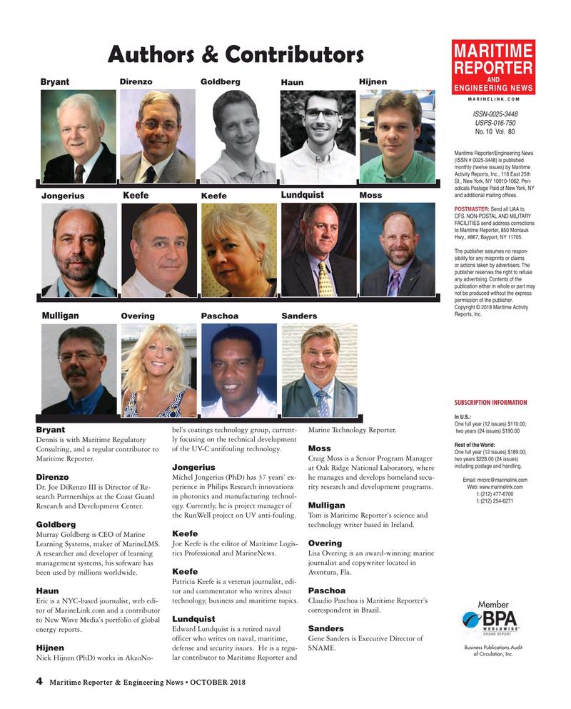 Maritime Reporter Magazine, page 4,  Oct 2018